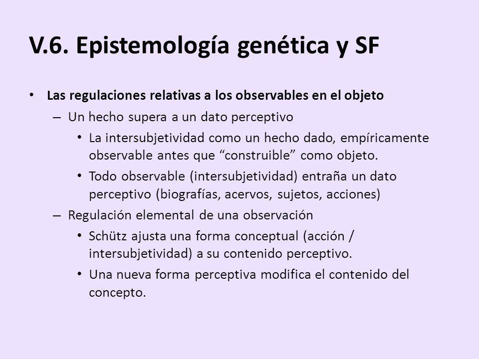 V.6. Epistemología genética y SF Las regulaciones relativas a los observables en el objeto – Un hecho supera a un dato perceptivo La intersubjetividad