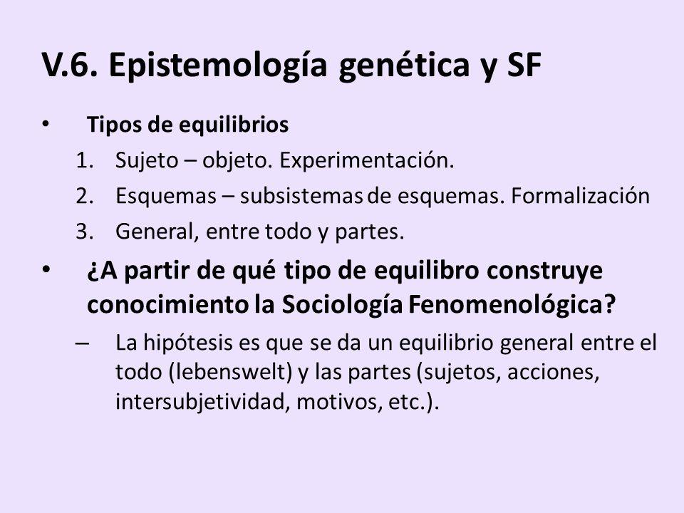 V.6. Epistemología genética y SF Tipos de equilibrios 1.Sujeto – objeto. Experimentación. 2.Esquemas – subsistemas de esquemas. Formalización 3.Genera
