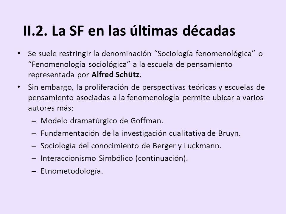II.2. La SF en las últimas décadas Se suele restringir la denominación Sociología fenomenológica o Fenomenología sociológica a la escuela de pensamien