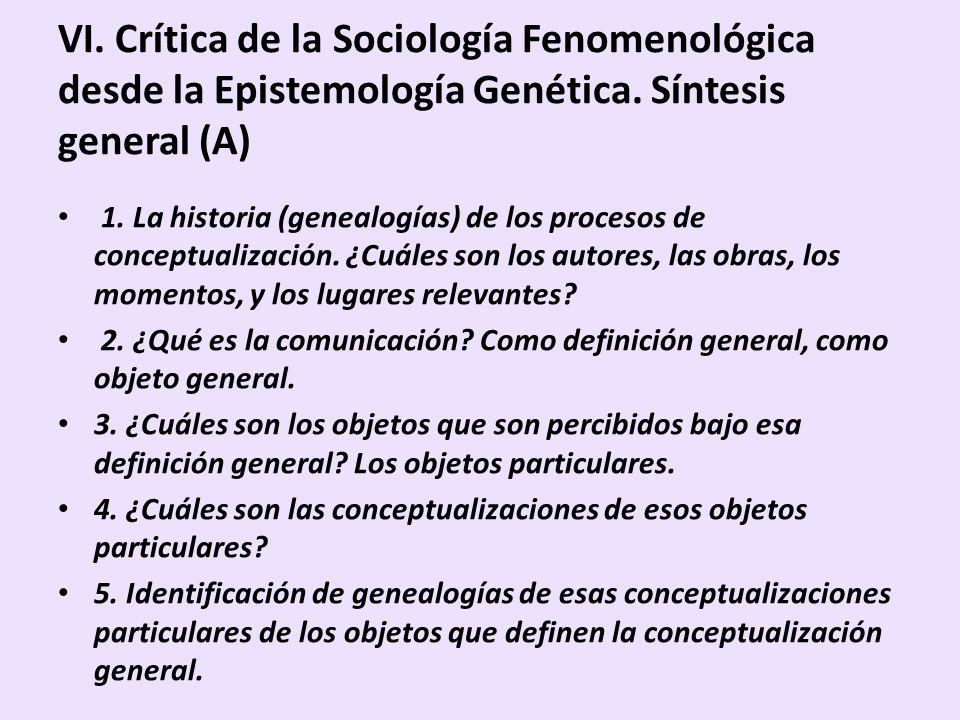 VI. Crítica de la Sociología Fenomenológica desde la Epistemología Genética. Síntesis general (A) 1. La historia (genealogías) de los procesos de conc