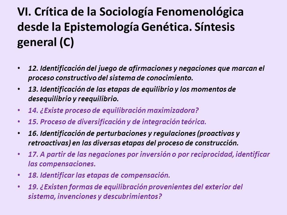 VI. Crítica de la Sociología Fenomenológica desde la Epistemología Genética. Síntesis general (C) 12. Identificación del juego de afirmaciones y negac
