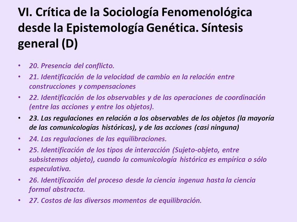 VI. Crítica de la Sociología Fenomenológica desde la Epistemología Genética. Síntesis general (D) 20. Presencia del conflicto. 21. Identificación de l