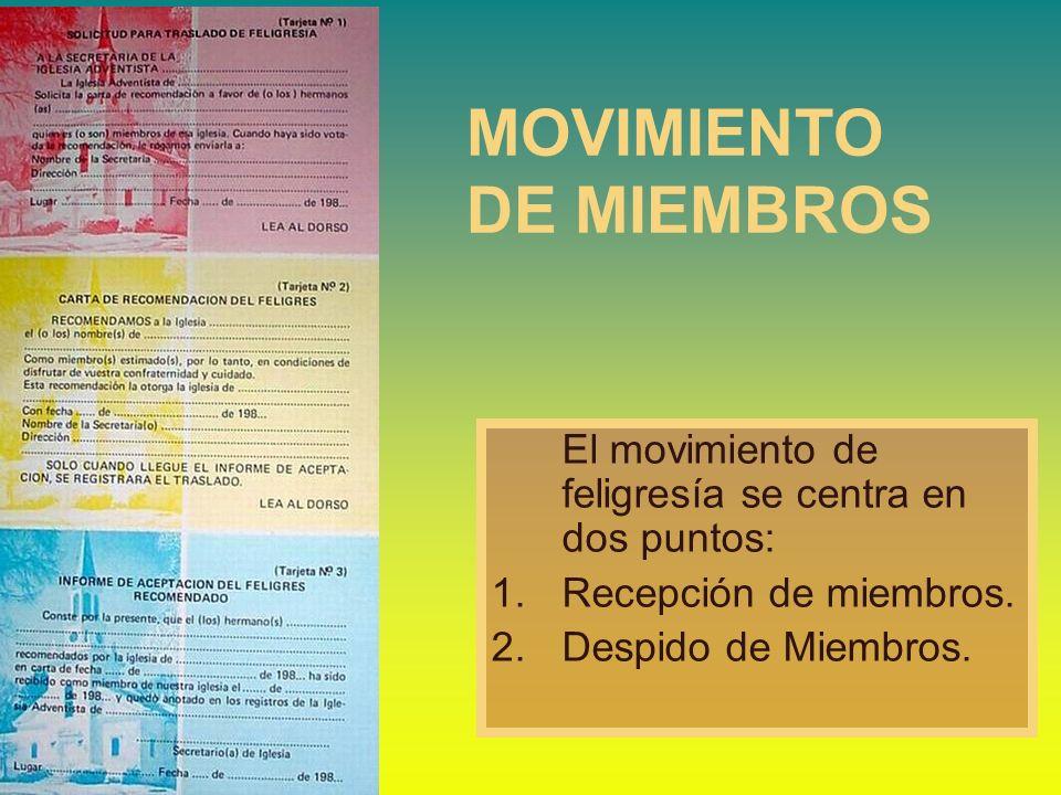 MOVIMIENTO DE MIEMBROS El movimiento de feligresía se centra en dos puntos: 1.Recepción de miembros. 2.Despido de Miembros.