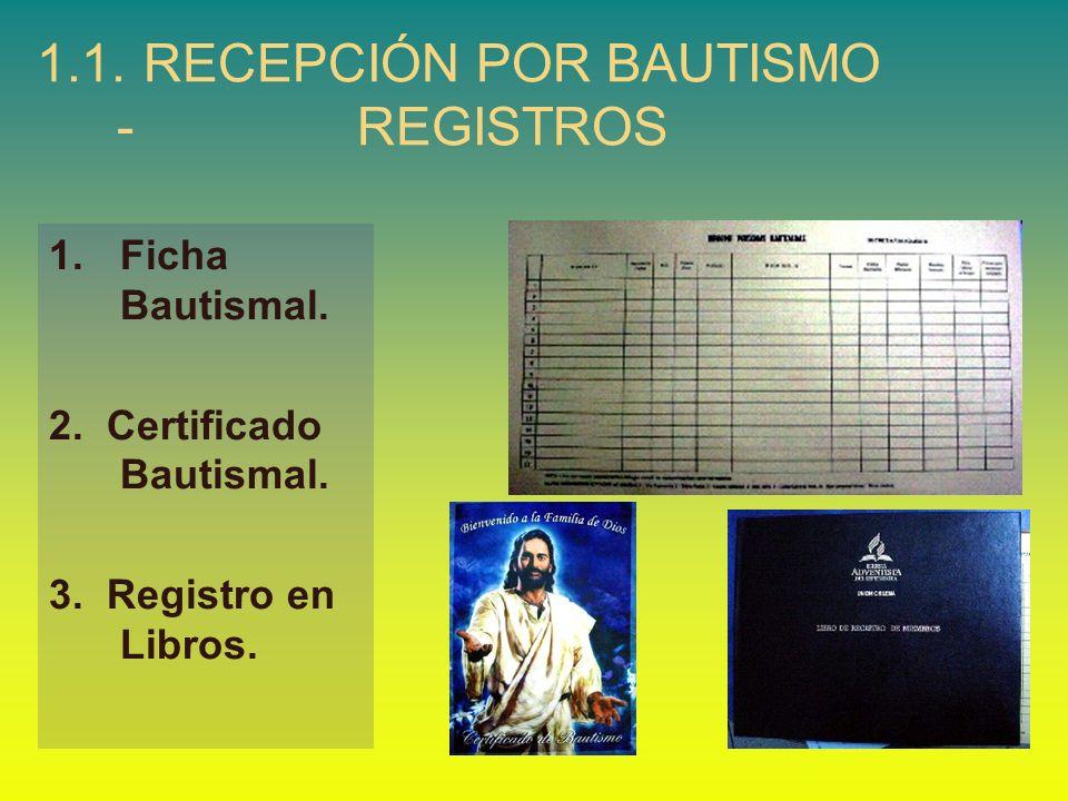 1.1.RECEPCIÓN POR BAUTISMO - REGISTROS 1.Ficha Bautismal. 2. Certificado Bautismal. 3. Registro en Libros.