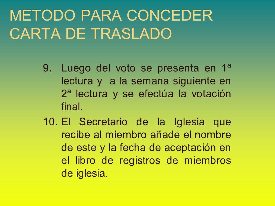 METODO PARA CONCEDER CARTA DE TRASLADO 9.Luego del voto se presenta en 1ª lectura y a la semana siguiente en 2ª lectura y se efectúa la votación final