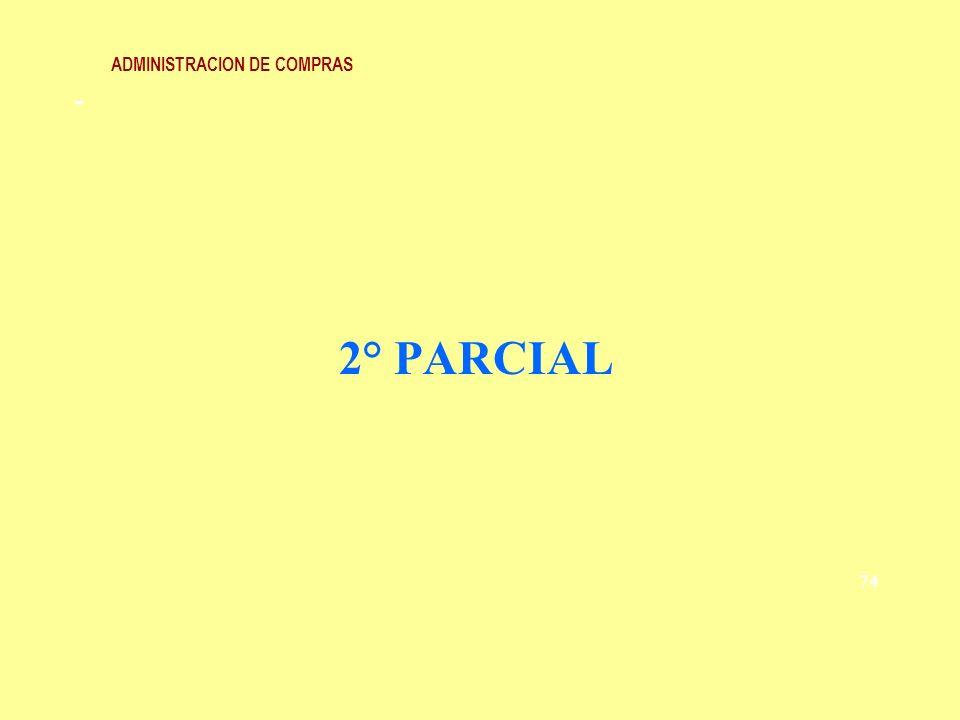 ADMINISTRACION DE COMPRAS Calidad Mínimas especificaciones del producto impuestas al proveedor.