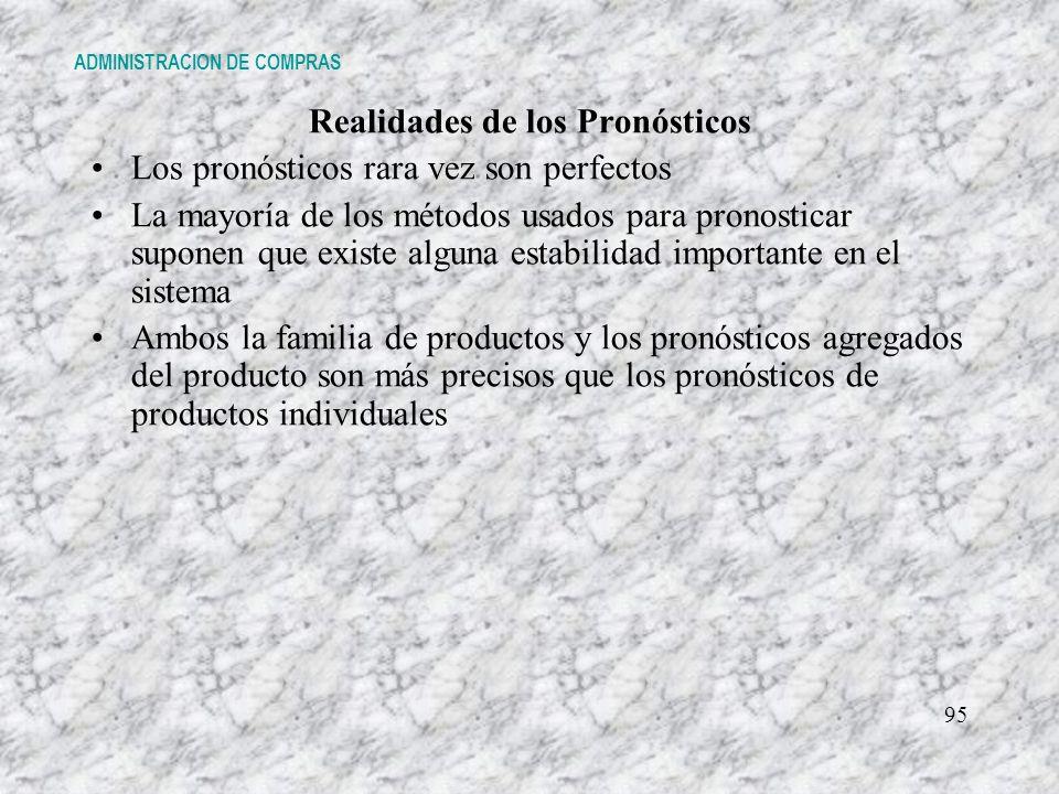 Realidades de los Pronósticos Los pronósticos rara vez son perfectos La mayoría de los métodos usados para pronosticar suponen que existe alguna estab