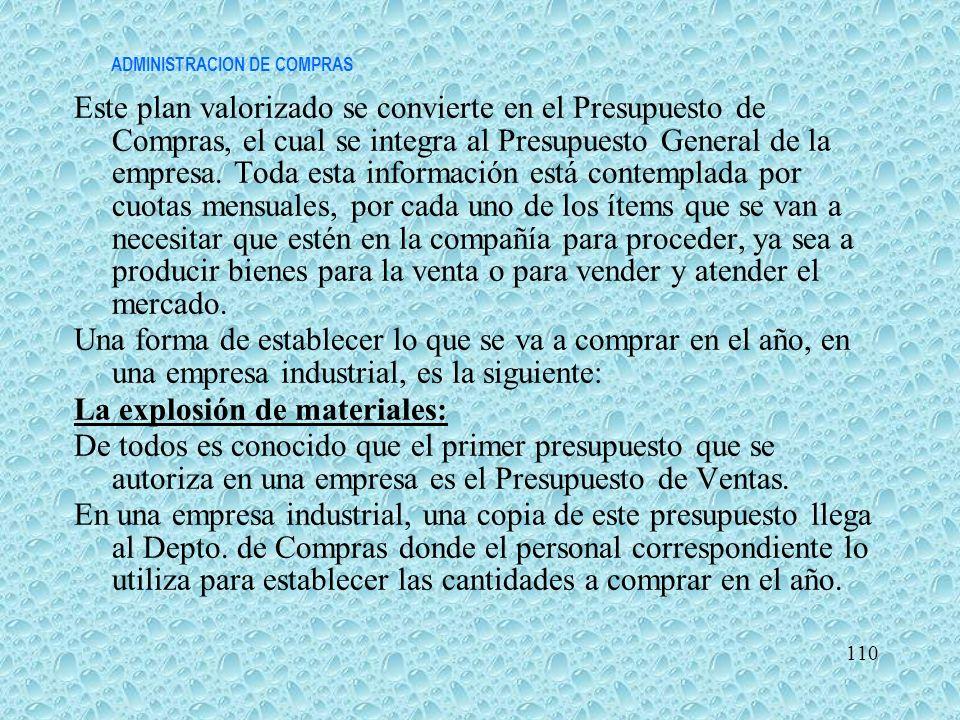 ADMINISTRACION DE COMPRAS Este plan valorizado se convierte en el Presupuesto de Compras, el cual se integra al Presupuesto General de la empresa. Tod