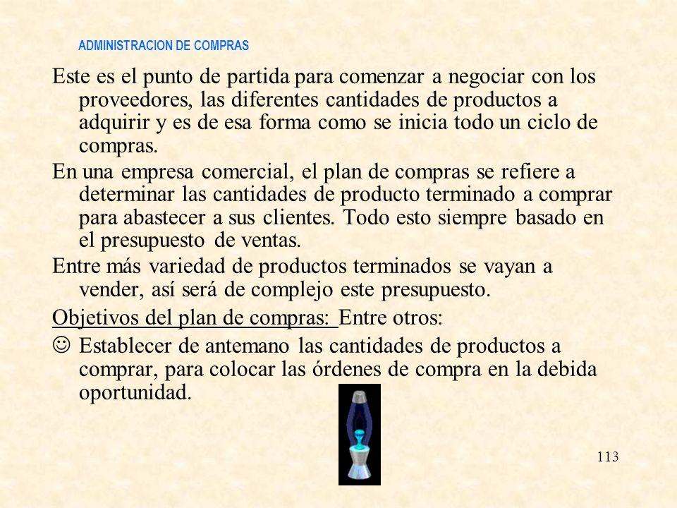 ADMINISTRACION DE COMPRAS Este es el punto de partida para comenzar a negociar con los proveedores, las diferentes cantidades de productos a adquirir