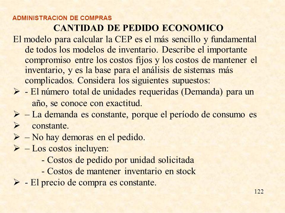 ADMINISTRACION DE COMPRAS CANTIDAD DE PEDIDO ECONOMICO El modelo para calcular la CEP es el más sencillo y fundamental de todos los modelos de inventa