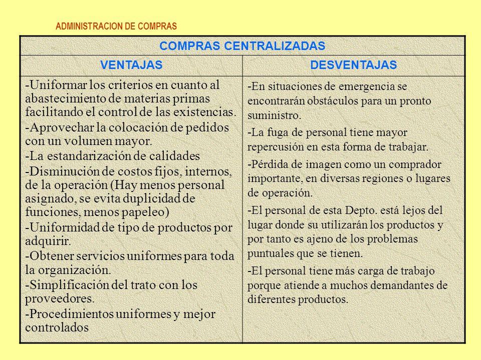 ADMINISTRACION DE COMPRAS 78 COMPRAS CENTRALIZADAS VENTAJASDESVENTAJAS -Uniformar los criterios en cuanto al abastecimiento de materias primas facilit
