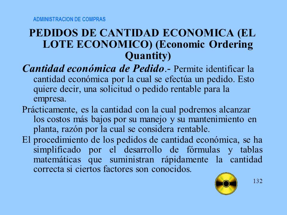 ADMINISTRACION DE COMPRAS PEDIDOS DE CANTIDAD ECONOMICA (EL LOTE ECONOMICO) (Economic Ordering Quantity) Cantidad económica de Pedido.- Permite identi