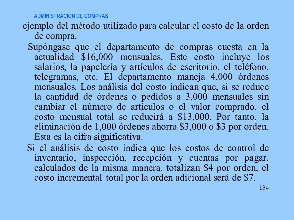 ADMINISTRACION DE COMPRAS ejemplo del método utilizado para calcular el costo de la orden de compra. Supóngase que el departamento de compras cuesta e