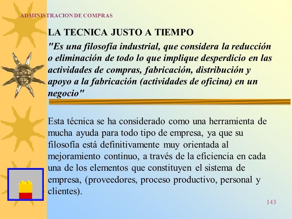 ADMINISTRACION DE COMPRAS LA TECNICA JUSTO A TIEMPO