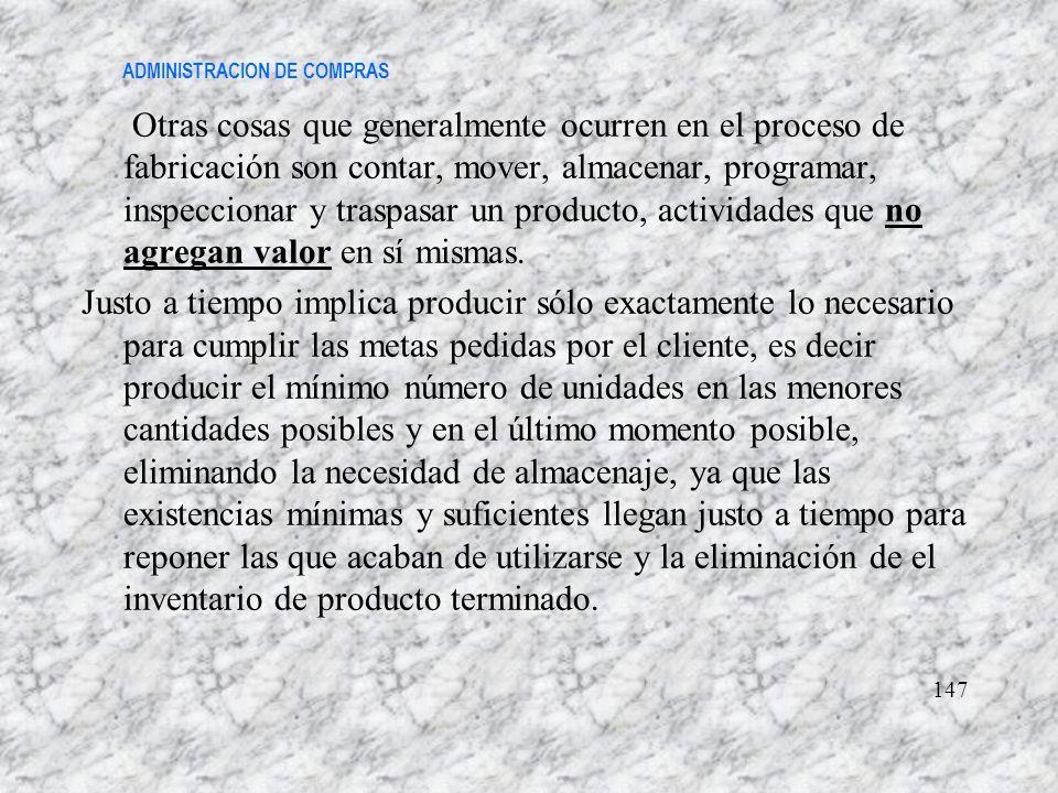 ADMINISTRACION DE COMPRAS Otras cosas que generalmente ocurren en el proceso de fabricación son contar, mover, almacenar, programar, inspeccionar y tr