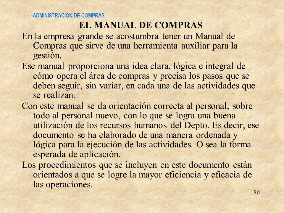 ADMINISTRACION DE COMPRAS EL MANUAL DE COMPRAS En la empresa grande se acostumbra tener un Manual de Compras que sirve de una herramienta auxiliar par