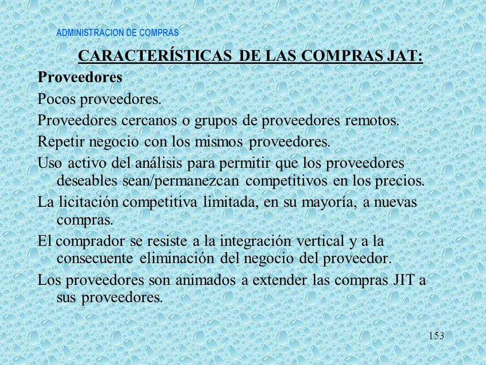 ADMINISTRACION DE COMPRAS CARACTERÍSTICAS DE LAS COMPRAS JAT: Proveedores Pocos proveedores. Proveedores cercanos o grupos de proveedores remotos. Rep