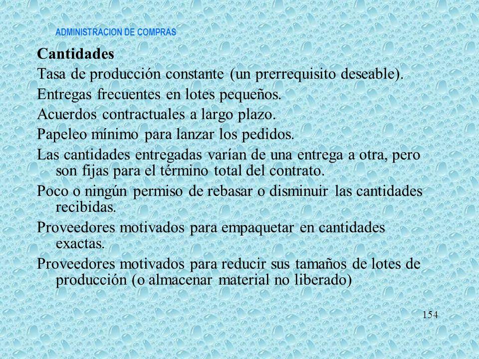 ADMINISTRACION DE COMPRAS Cantidades Tasa de producción constante (un prerrequisito deseable). Entregas frecuentes en lotes pequeños. Acuerdos contrac