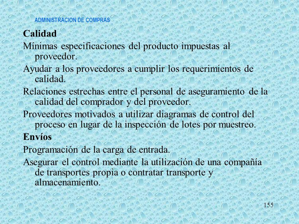 ADMINISTRACION DE COMPRAS Calidad Mínimas especificaciones del producto impuestas al proveedor. Ayudar a los proveedores a cumplir los requerimientos