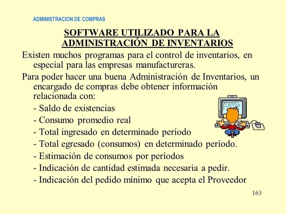 ADMINISTRACION DE COMPRAS SOFTWARE UTILIZADO PARA LA ADMINISTRACIÓN DE INVENTARIOS Existen muchos programas para el control de inventarios, en especia