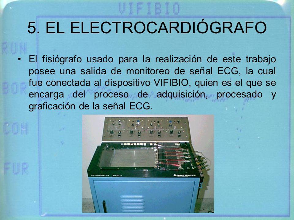 5. EL ELECTROCARDIÓGRAFO El fisiógrafo usado para la realización de este trabajo posee una salida de monitoreo de señal ECG, la cual fue conectada al