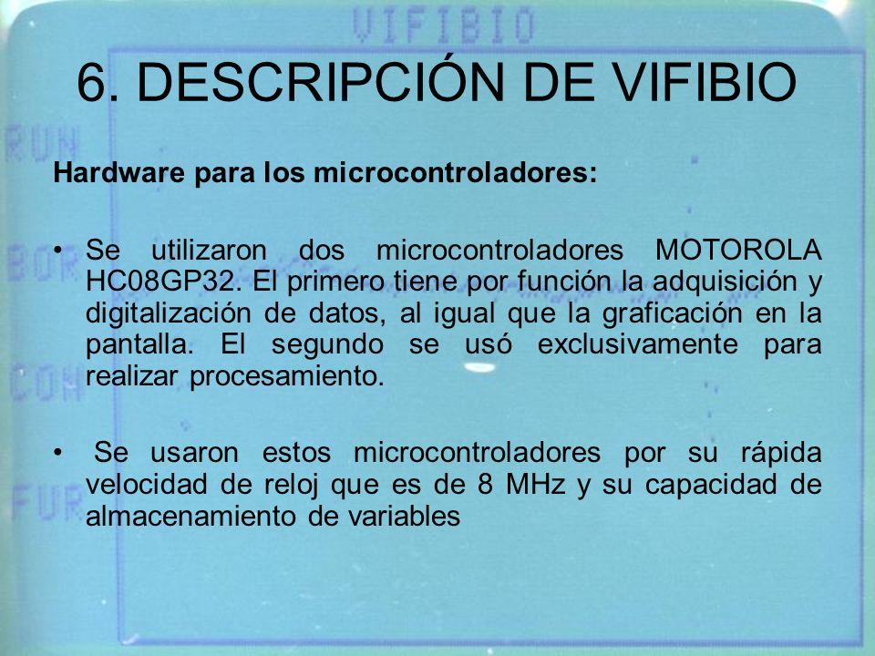 6. DESCRIPCIÓN DE VIFIBIO Hardware para los microcontroladores: Se utilizaron dos microcontroladores MOTOROLA HC08GP32. El primero tiene por función l