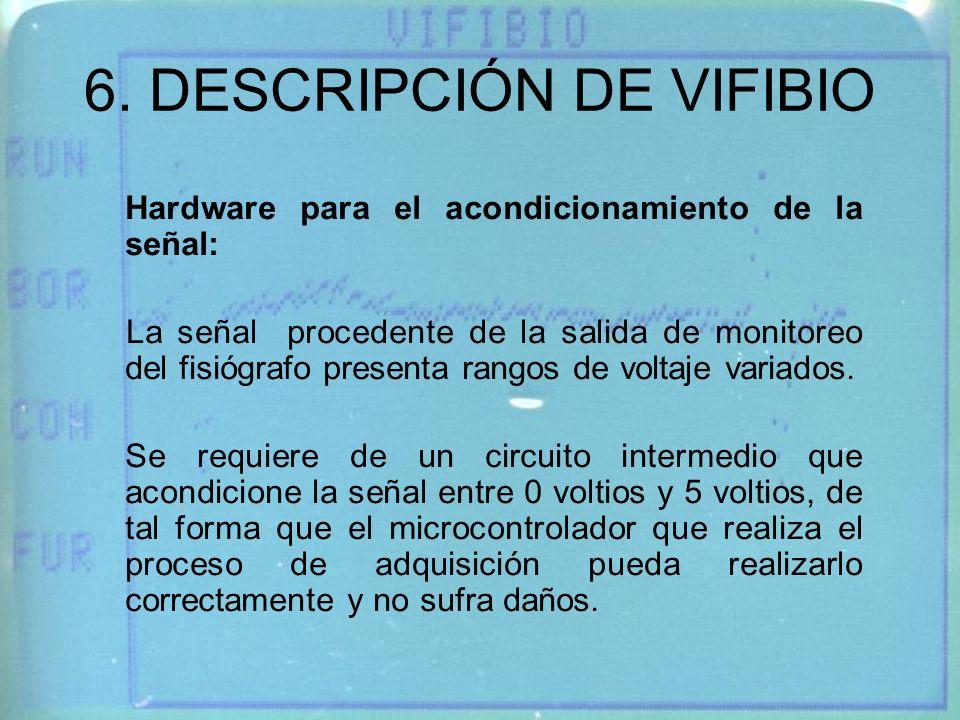 6. DESCRIPCIÓN DE VIFIBIO Hardware para el acondicionamiento de la señal: La señal procedente de la salida de monitoreo del fisiógrafo presenta rangos