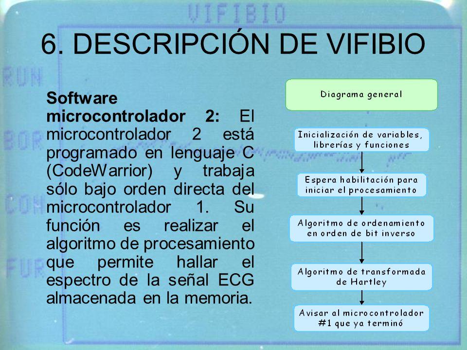 6. DESCRIPCIÓN DE VIFIBIO Software microcontrolador 2: El microcontrolador 2 está programado en lenguaje C (CodeWarrior) y trabaja sólo bajo orden dir