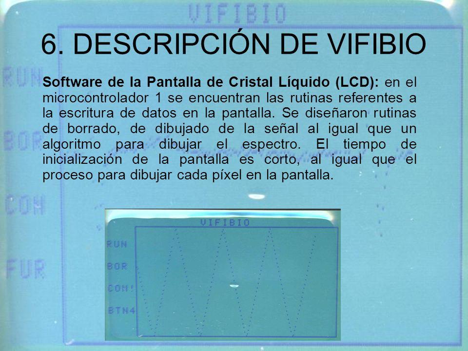 6. DESCRIPCIÓN DE VIFIBIO Software de la Pantalla de Cristal Líquido (LCD): en el microcontrolador 1 se encuentran las rutinas referentes a la escritu