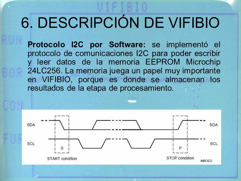 6. DESCRIPCIÓN DE VIFIBIO Protocolo I2C por Software: se implementó el protocolo de comunicaciones I2C para poder escribir y leer datos de la memoria