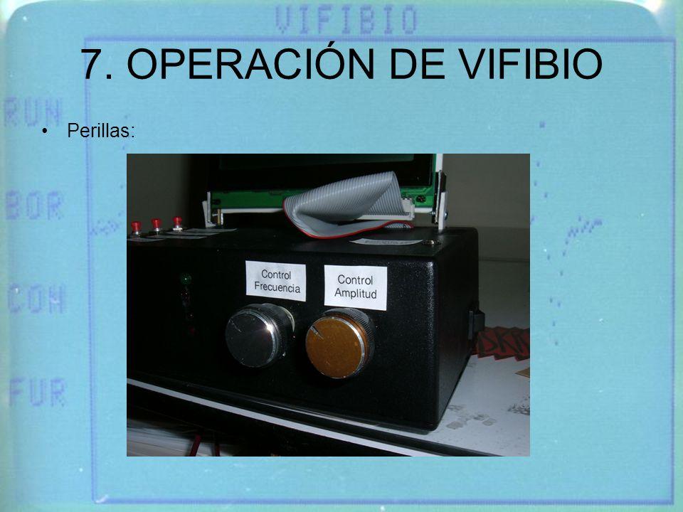 7. OPERACIÓN DE VIFIBIO Perillas: