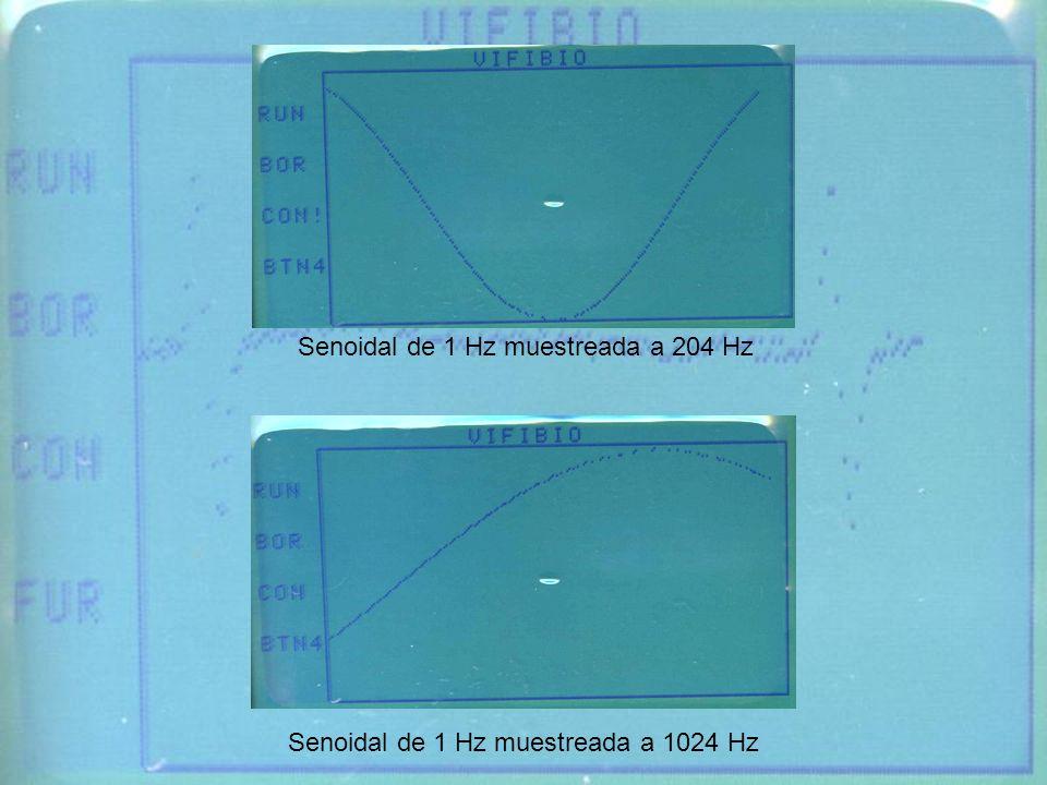Senoidal de 1 Hz muestreada a 204 Hz Senoidal de 1 Hz muestreada a 1024 Hz