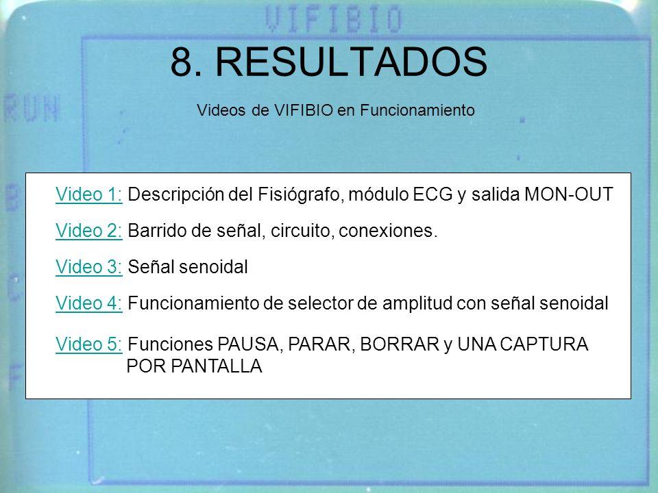 8. RESULTADOS Videos de VIFIBIO en Funcionamiento Video 1:Video 1: Descripción del Fisiógrafo, módulo ECG y salida MON-OUT Video 2:Video 2: Barrido de