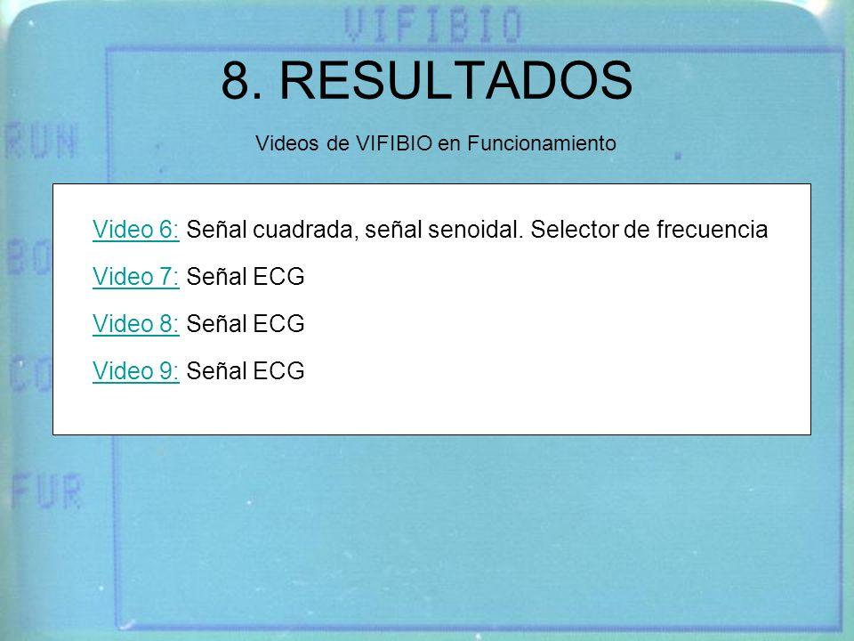 8. RESULTADOS Videos de VIFIBIO en Funcionamiento Video 6:Video 6: Señal cuadrada, señal senoidal. Selector de frecuencia Video 7:Video 7: Señal ECG V