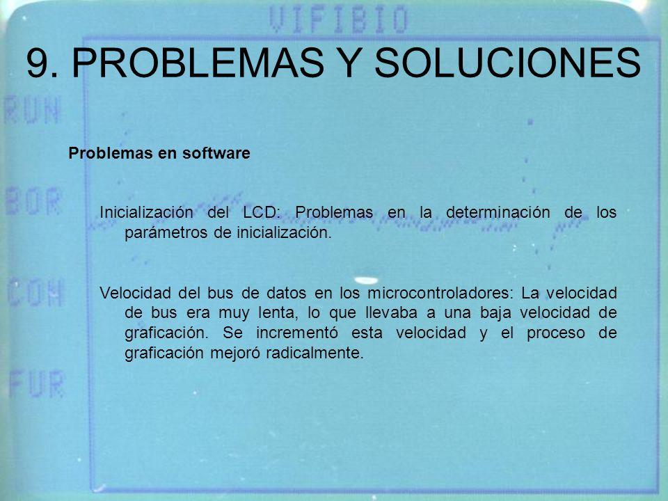 9. PROBLEMAS Y SOLUCIONES Inicialización del LCD: Problemas en la determinación de los parámetros de inicialización. Velocidad del bus de datos en los