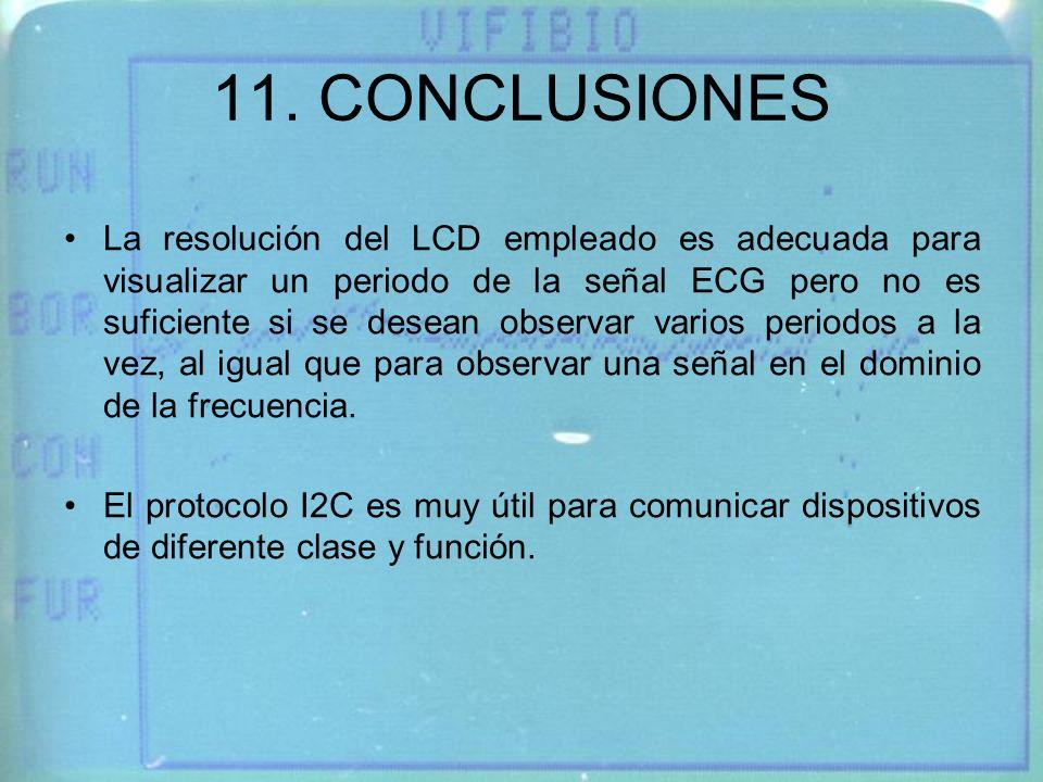 11. CONCLUSIONES La resolución del LCD empleado es adecuada para visualizar un periodo de la señal ECG pero no es suficiente si se desean observar var