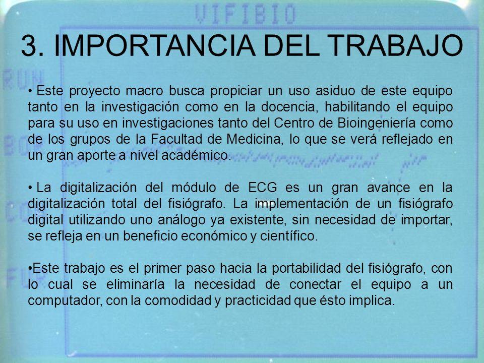 3. IMPORTANCIA DEL TRABAJO Este proyecto macro busca propiciar un uso asiduo de este equipo tanto en la investigación como en la docencia, habilitando