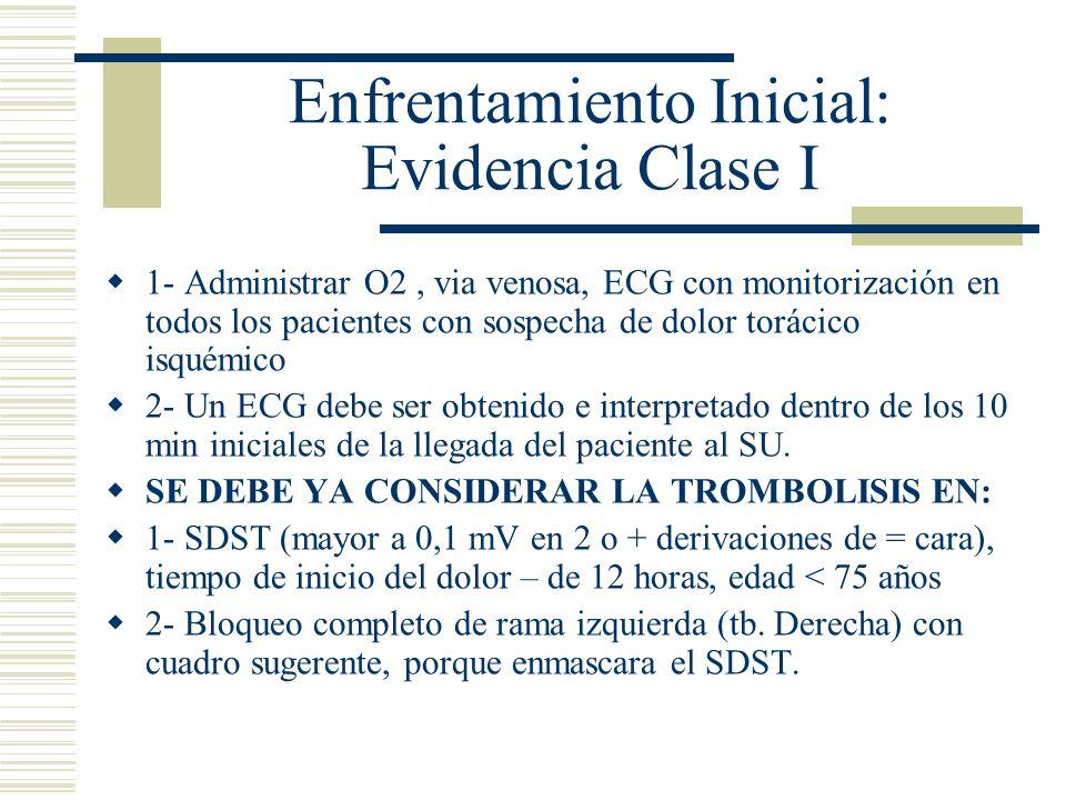 Enfrentamiento Inicial: Evidencia Clase I 1- Administrar O2, via venosa, ECG con monitorización en todos los pacientes con sospecha de dolor torácico