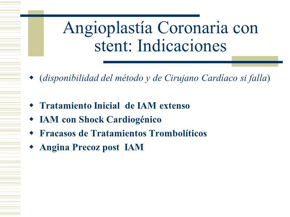 Angioplastía Coronaria con stent: Indicaciones (disponibilidad del método y de Cirujano Cardíaco si falla) Tratamiento Inicial de IAM extenso IAM con