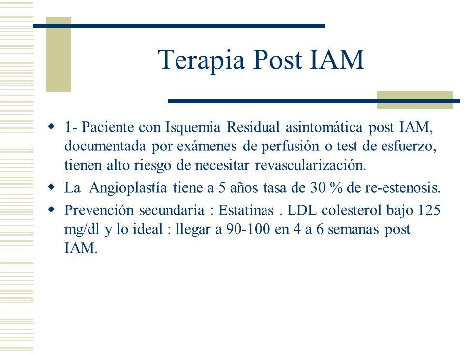 Terapia Post IAM 1- Paciente con Isquemia Residual asintomática post IAM, documentada por exámenes de perfusión o test de esfuerzo, tienen alto riesgo