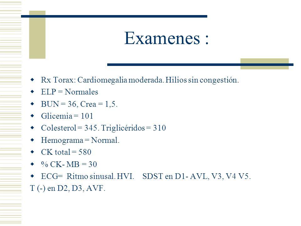 Examenes : Rx Torax: Cardiomegalia moderada. Hilios sin congestión. ELP = Normales BUN = 36, Crea = 1,5. Glicemia = 101 Colesterol = 345. Triglicérido