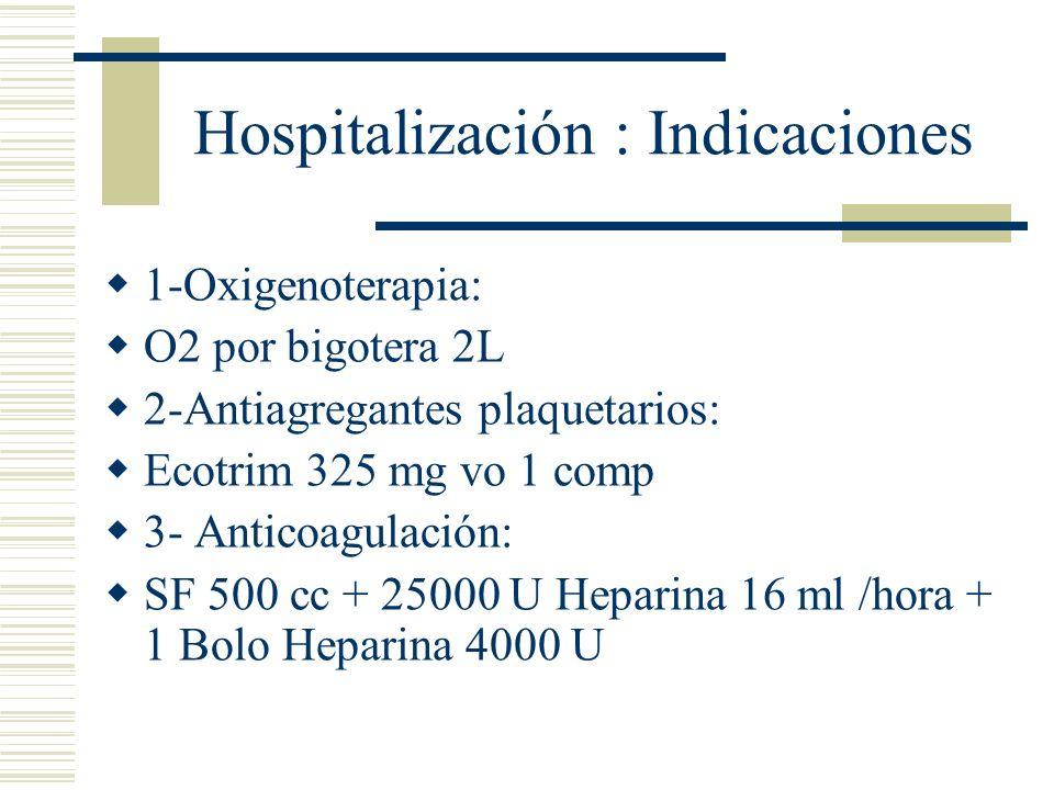 Hospitalización : Indicaciones 1-Oxigenoterapia: O2 por bigotera 2L 2-Antiagregantes plaquetarios: Ecotrim 325 mg vo 1 comp 3- Anticoagulación: SF 500