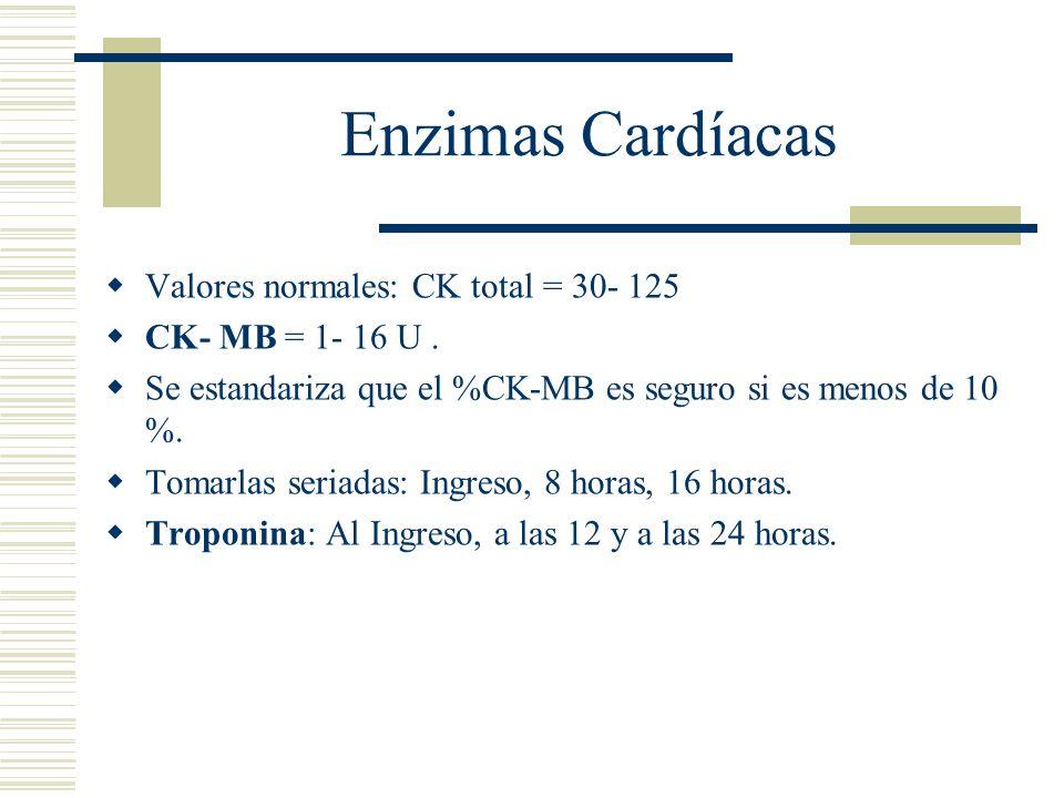 Enzimas Cardíacas Valores normales: CK total = 30- 125 CK- MB = 1- 16 U. Se estandariza que el %CK-MB es seguro si es menos de 10 %. Tomarlas seriadas