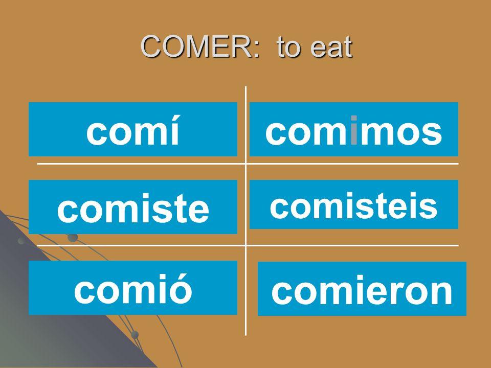 COMER: to eat coméiscomes comemos comencome como comí comiste comió comimos comisteis comieron
