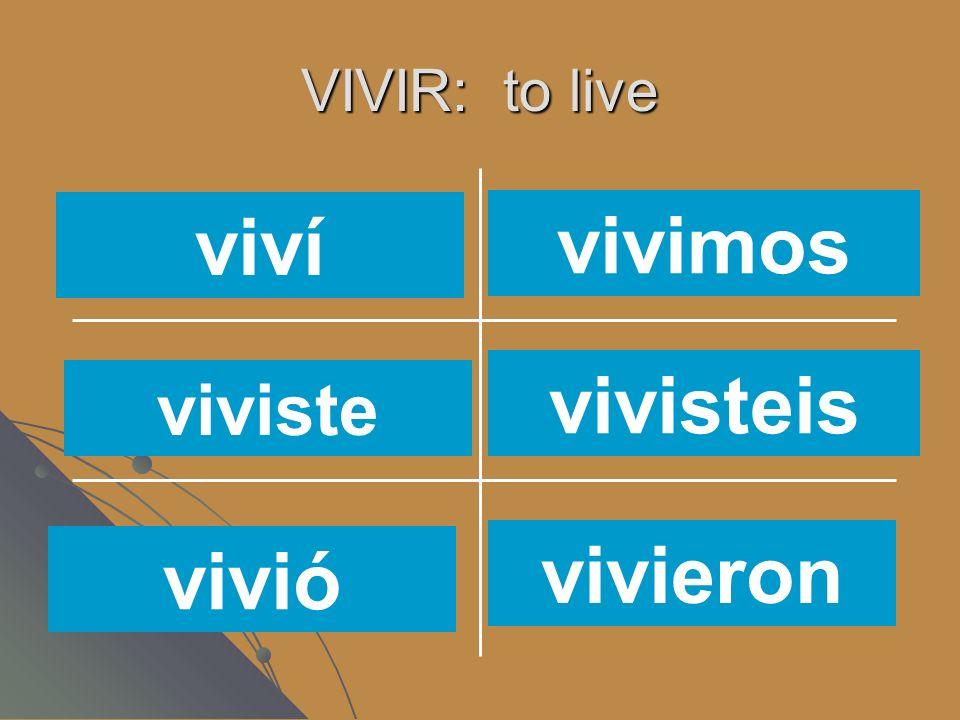 VIVIR: to live vivísvives vivimos vivenvive vivo viví viviste vivió vivimos vivisteis vivieron