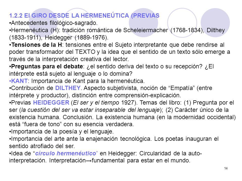 14 1.2.2 El GIRO DESDE LA HERMENEÚTICA (PREVIAS Antecedentes filológico-sagrado. Hermenéutica (H): tradición romántica de Scheleiermacher (1768-1834),