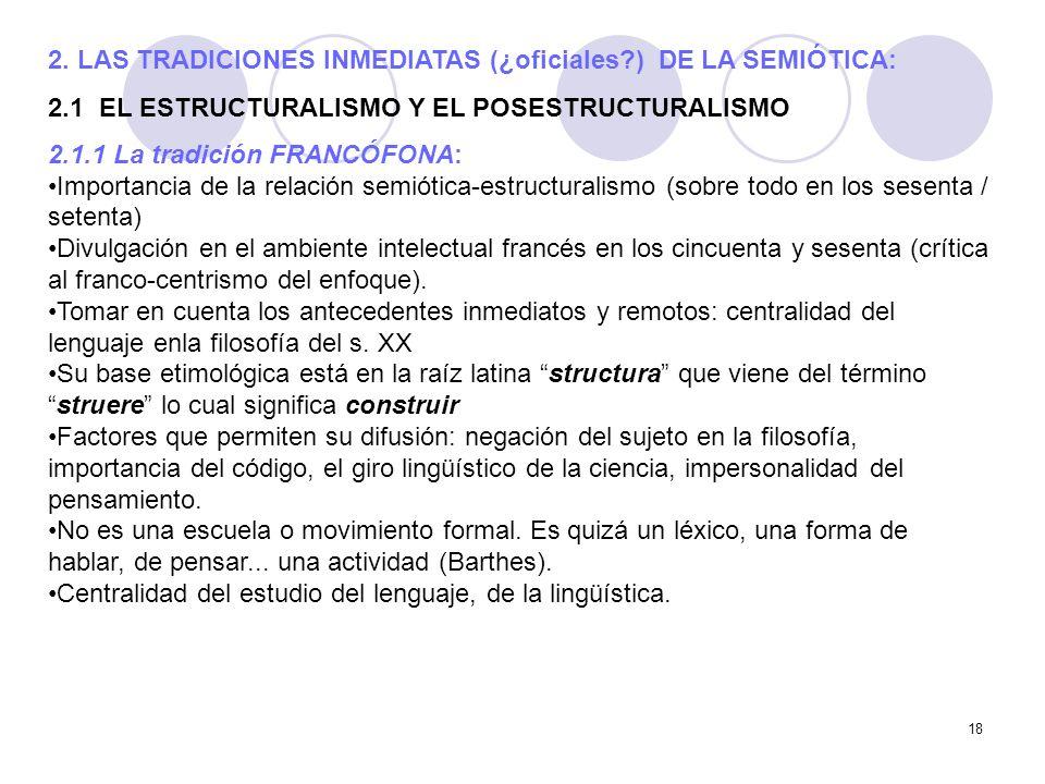 18 2. LAS TRADICIONES INMEDIATAS (¿oficiales?) DE LA SEMIÓTICA: 2.1 EL ESTRUCTURALISMO Y EL POSESTRUCTURALISMO 2.1.1 La tradición FRANCÓFONA: Importan