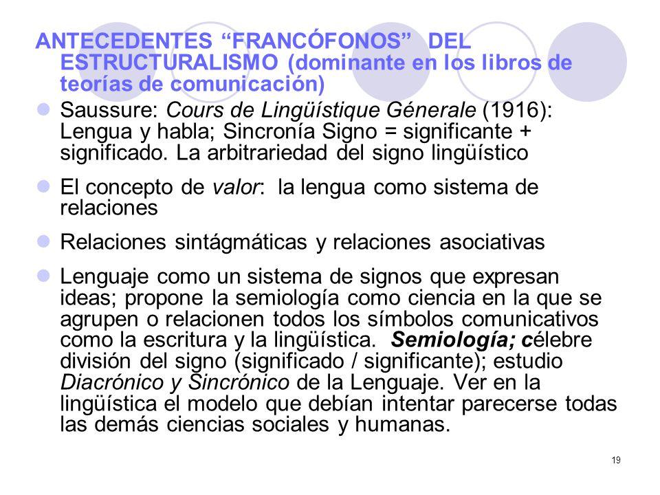 19 ANTECEDENTES FRANCÓFONOS DEL ESTRUCTURALISMO (dominante en los libros de teorías de comunicación) Saussure: Cours de Lingüístique Génerale (1916):