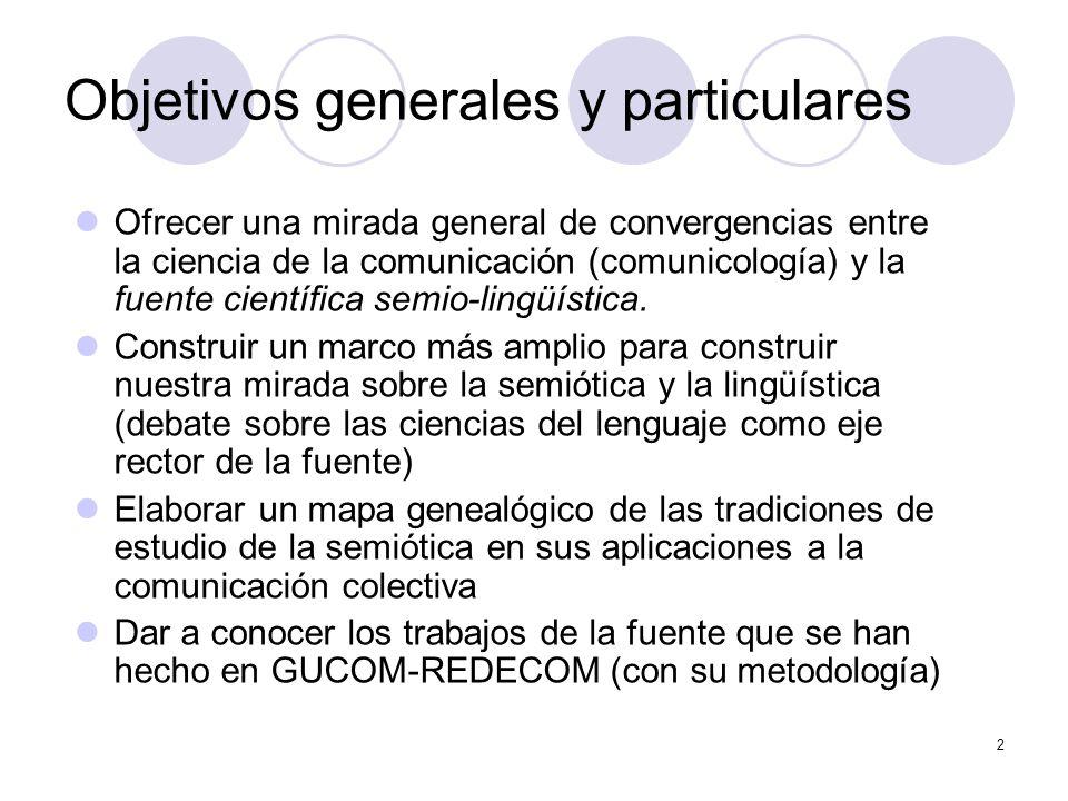 2 Objetivos generales y particulares Ofrecer una mirada general de convergencias entre la ciencia de la comunicación (comunicología) y la fuente cient