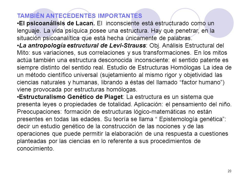 20 TAMBIÉN ANTECEDENTES IMPORTANTES El psicoanálisis de Lacan. El inconsciente está estructurado como un lenguaje. La vida psíquica posee una estructu